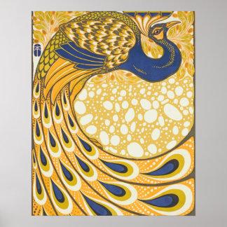 Vintage Peacock Poster Art Nouveau