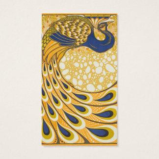 Vintage Peacock Poster Art Nouveau Business Card