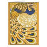 Vintage Peacock Poster Art Nouveau Greeting Card