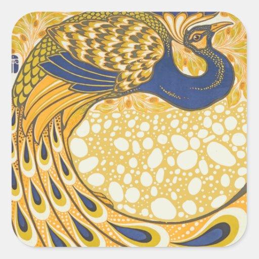 Vintage Peacock Poster Art Nouveau Sticker