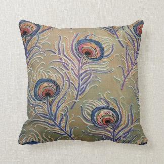 Vintage Peacock Print Throw Pillow