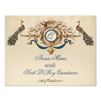Vintage Peacock Reception Card Horizontal