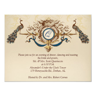 Vintage Peacock Reception Card Horizontal b