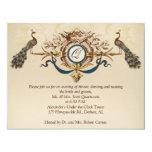 "Vintage Peacock Reception Card Horizontal b 4.25"" X 5.5"" Invitation Card"