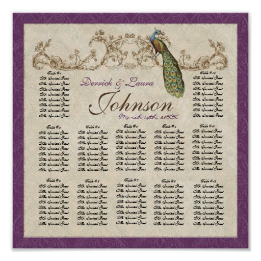 Vintage Peacock Reception Table Seating Chart Poster