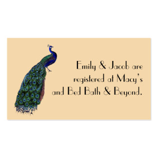 Vintage Peacock Registry Insert Cards Double-Sided Standard Business Cards (Pack Of 100)