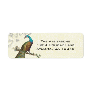 Vintage Peacock Return Address Label