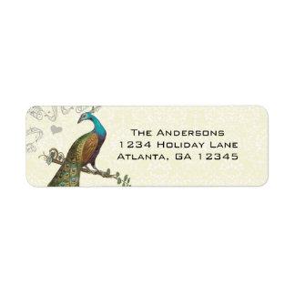 Vintage Peacock Return Address Label