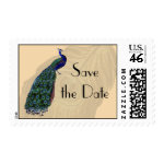 Vintage Peacock Save the Date Postage zazzle_stamp