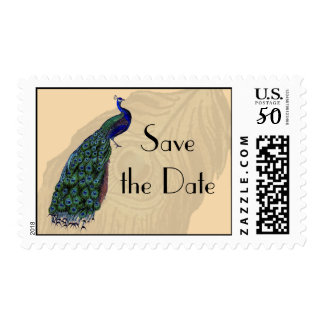 Vintage Peacock Save the Date Postage