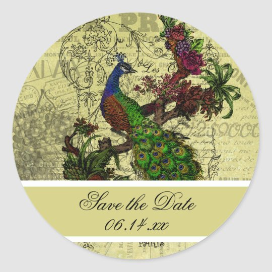 Vintage Peacock Save the Date Round Stickers
