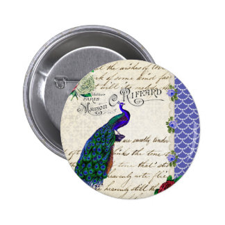 Vintage Peacock Song Collage Button