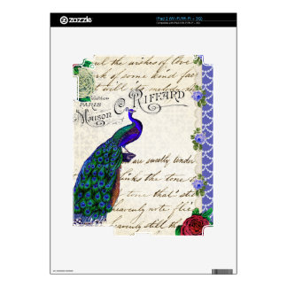 Vintage Peacock Song Collage Skins For The iPad 2