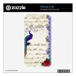Vintage Peacock Song Collage Skins For The iPhone 4S