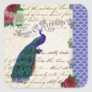 Vintage Peacock Song Collage Square Stickers