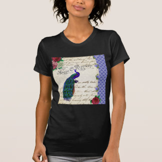Vintage Peacock Song Collage T Shirt