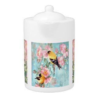 Vintage Peacock & Sparrows Porcelain Teapot
