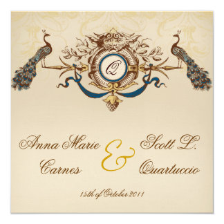 Vintage Peacock Square Wedding Invitations Linen