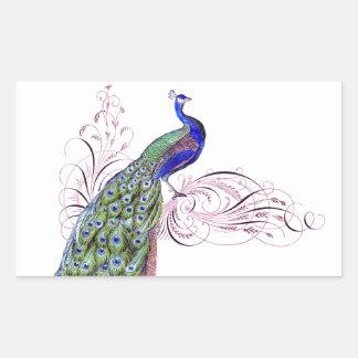 Vintage Peacock Rectangular Stickers