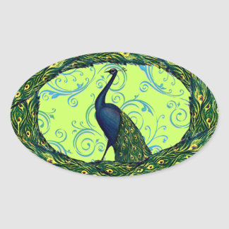 Vintage Peacock Oval Stickers