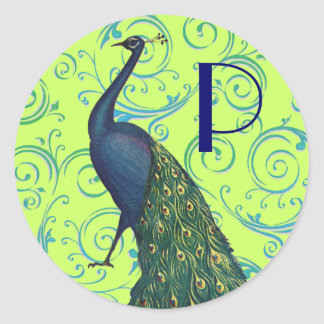 Vintage Peacock Round Sticker