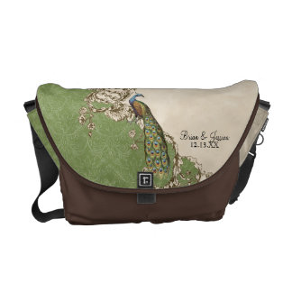 Vintage Peacock Swirl Damask Trendy Chic Pattern Courier Bag