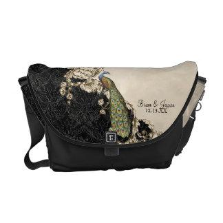 Vintage Peacock Swirl Damask Trendy Chic Pattern Messenger Bag
