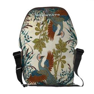 Vintage Peacock Swirl Fine Art Messenger Bag rickshawmessengerbag