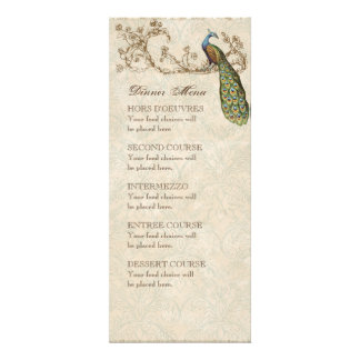 Vintage Peacock Teal Blue, Dinner Menu Card Personalized Announcement