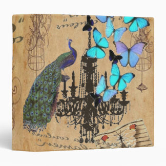 vintage peacock Teal butterfly Paris fashion Binder