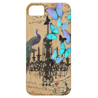 vintage peacock Teal butterfly Paris fashion iPhone SE/5/5s Case