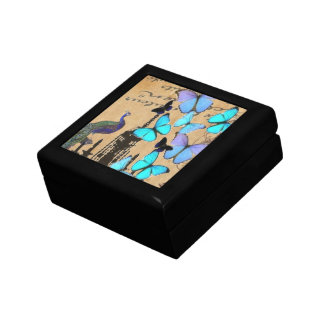 vintage peacock Teal butterfly Paris fashion Jewelry Box
