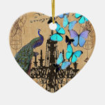 vintage peacock Teal butterfly Paris fashion Double-Sided Heart Ceramic Christmas Ornament