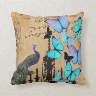 vintage peacock Teal butterfly Paris fashion Pillow