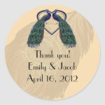 Vintage Peacock Thank You Favor Stickers zazzle_sticker