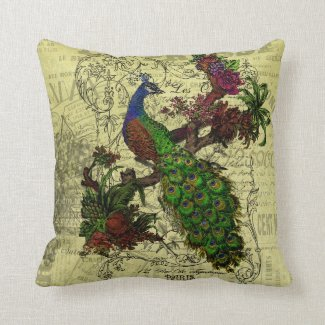 Vintage Peacock Throw Pillow