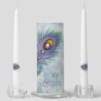 Vintage Peacock Unity Candle Set