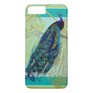 Vintage Peacock w Etched Swirls n Feathers Art iPhone 8 Plus/7 Plus Case