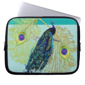 Vintage Peacock w Etched Swirls n Feathers Art Laptop Sleeves