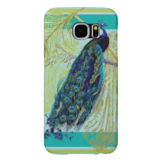 Vintage Peacock w Etched Swirls n Feathers Art Samsung Galaxy S6 Case