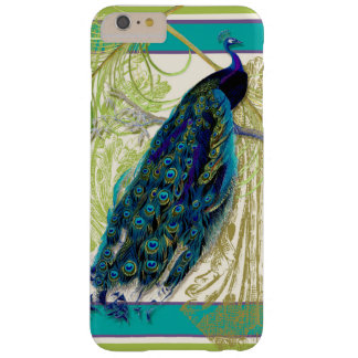 Vintage Peacock w Scroll Etchings n Feathers Art Barely There iPhone 6 Plus Case