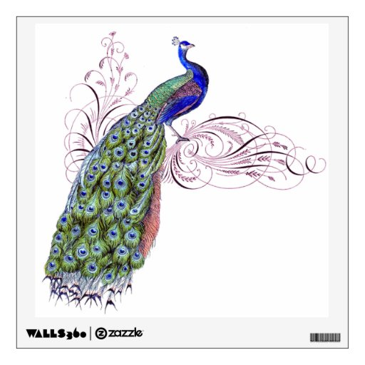 vintage peacock wall stickers zazzle peacock wall decals a wall decal