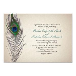 Vintage Peacock Wedding Invitation 5