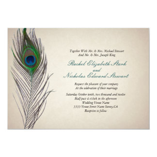 Charming Vintage Peacock Wedding Invitation