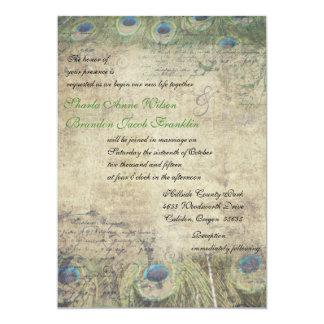 """Vintage Peacock Wedding Invitation 5"""" X 7"""" Invitation Card"""