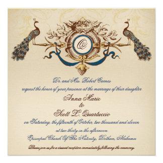 Vintage Peacock Wedding Invitation Linen Square 2