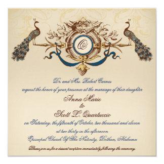 """Vintage Peacock Wedding Invitation Linen Square #2 5.25"""" Square Invitation Card"""