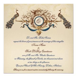 """Vintage Peacock Wedding Invitation Linen Square #3 5.25"""" Square Invitation Card"""