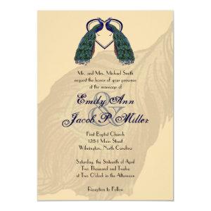 Vintage Peacock Wedding Invitations 5