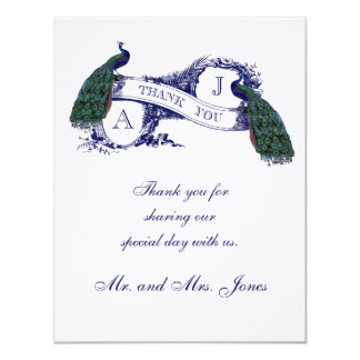 "Vintage Peacock Wedding Photo Thank You 4.25"" X 5.5"" Invitation Card"